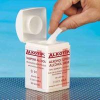 Alcoholdoekjes Alkotip 44x44mm in dispenser - 150 stuks + 5