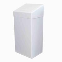 Afvalbak met klepdeksel 50 liter, staal wit gemoffeld