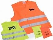 BHV veiligheidsvest in tasje, bedrukt - geel