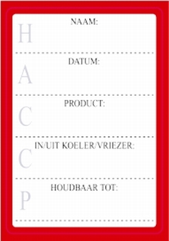 HACCP etiketten rood, 200 per rol - verpakt per 5 rollen