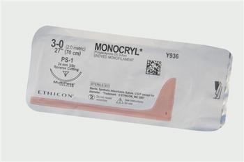 Hechtmateriaal Ethicon Monocryl 3/0 met naald FS-2-per doos
